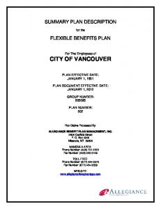 SUMMARY PLAN DESCRIPTION FLEXIBLE BENEFITS PLAN