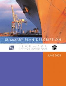 SUMMARY PLAN DESCRIPTION. SAVINGS (401(k)) PLAN