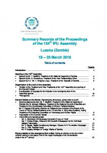 Summary Records of the Proceedings of the 134 th IPU Assembly Lusaka (Zambia) March 2016
