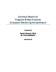 Summary Report on Programs & Best Practices to Support Mentoring Entrepreneurs