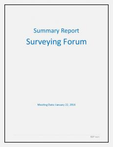 Summary Report. Surveying Forum. Meeting Date: January 22, P age
