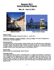 Summer 2011 Central Europe Program