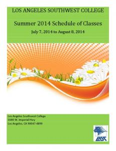 Summer 2014 Schedule of Classes