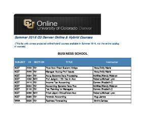 Summer 2016 CU Denver Online & Hybrid Courses