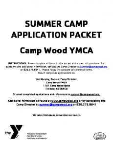 SUMMER CAMP APPLICATION PACKET