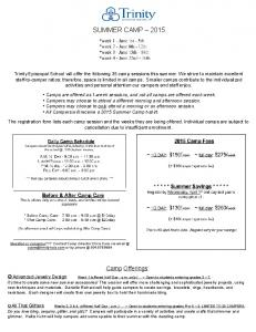SUMMER CAMP Camp Offerings :