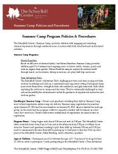 Summer Camp Program Policies & Procedures