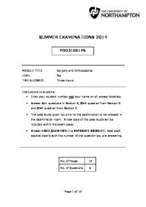 SUMMER EXAMINATIONS 2014