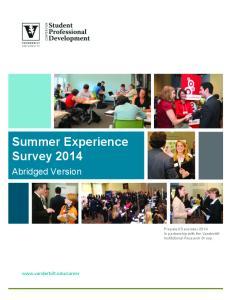 Summer Experience Survey 2014