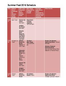 Summer Fest 2016 Schedule