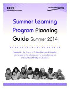 Summer Learning Program Planning Guide Summer 2014