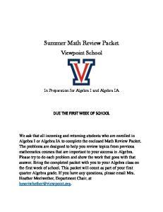 Summer Math Review Packet