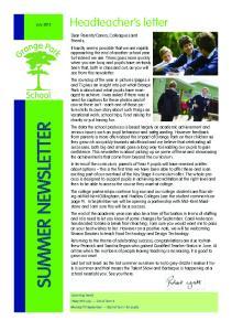 SUMMER NEWSLETTER. Headteacher s letter