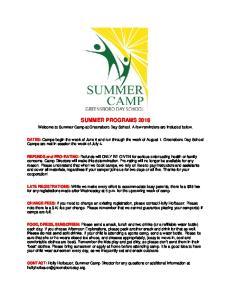 SUMMER PROGRAMS 2016