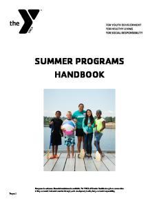 SUMMER PROGRAMS HANDBOOK