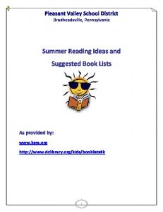Summer Reading Ideas and Suggested Book Lists