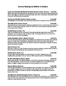 Summer Reading List 2016 for 7th Graders