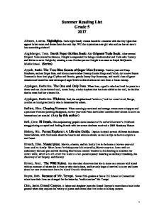 Summer Reading List Grade