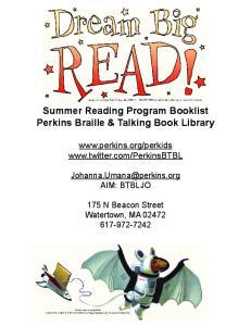 Summer Reading Program Booklist Perkins Braille & Talking Book Library