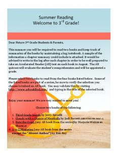 Summer Reading Welcome to 3 rd Grade!