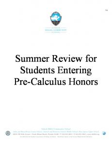 Summer Review for Students Entering Pre-Calculus Honors