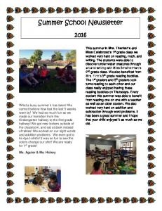 Summer School Newsletter