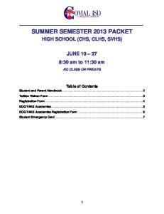SUMMER SEMESTER 2013 PACKET
