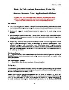 Summer Semester Grant Application Guidelines