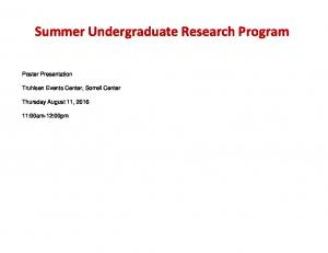 Summer Undergraduate Research Program