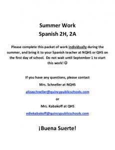Summer Work Spanish 2H, 2A