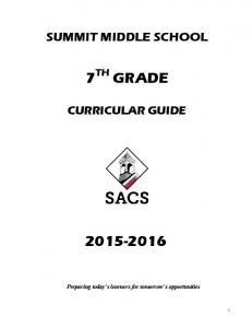 SUMMIT MIDDLE SCHOOL 7 TH GRADE CURRICULAR GUIDE Preparing today s learners for tomorrow s opportunities