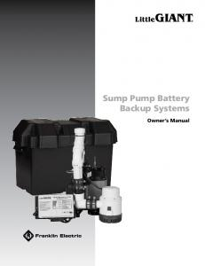 Sump Pump Battery Backup Systems. Owner s Manual
