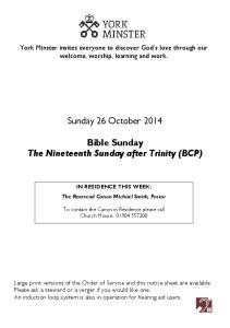 Sunday 26 October Bible Sunday The Nineteenth Sunday after Trinity (BCP)