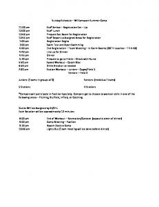 Sunday Schedule Williamsport Summer Camp