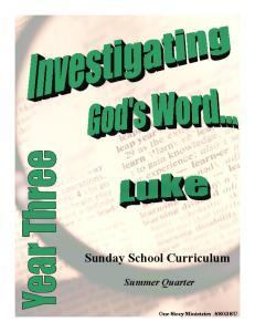 Sunday School Curriculum Summer Quarter
