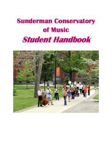 Sunderman Conservatory of Music. Student Handbook