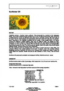 Sunflower oil is produced by extraction and subsequent refining Helianthus annuus L. seeds