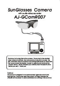 SunGlasses Camera. with audio video recorder AJOKA POWER A B MENU OK