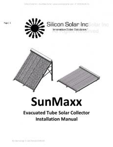 SunMaxx Evacuated Tube Solar Collector Installation Manual