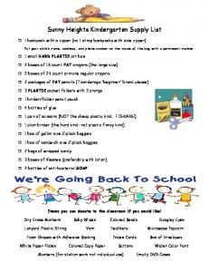 Sunny Heights Kindergarten Supply List