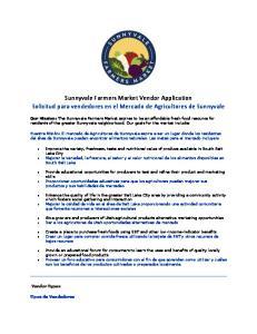 Sunnyvale Farmers Market Vendor Application Solicitud para vendedores en el Mercado de Agricultores de Sunnyvale