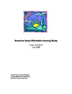 Sunshine Coast Affordable Housing Study