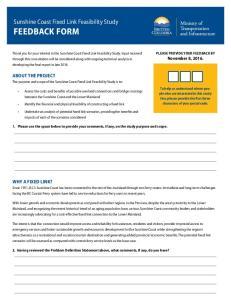 Sunshine Coast Fixed Link Feasibility Study FEEDBACK FORM
