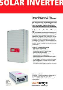 Sunways Solar-Inverter AT 2700, AT 3000, AT 3600, AT 4500 und AT 5000