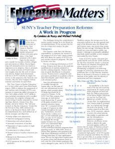 SUNY s Teacher Preparation Reforms: A Work in Progress