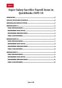 Super Salary Sacrifice Payroll Items in QuickBooks
