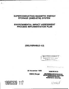 SUPERCONDUCTING MAGNETIC ENERGY STORAGE (SMES-ETM) SYSTEM ENVIRONMENTAL IMPACT ASSESSMENT PROCESS IMPLEMENTATION PLAN (DELIVERABLE 4