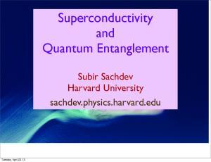 Superconductivity and Quantum Entanglement
