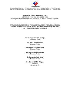 SUPERINTENDENCIA DE ADMINISTRADORAS DE FONDOS DE PENSIONES