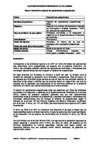 SUPERINTENDENCIA FINANCIERA DE COLOMBIA. Anexo: Instructivo reporte de operaciones sospechosas